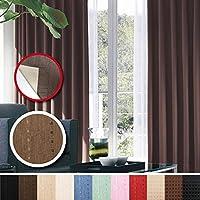 窓美人 センチュリオン 完全遮光 特殊コーティングカーテン 幅100×丈200cm 2枚入り ブラウン ストライプ柄 断熱・遮熱・防音 形状記憶付