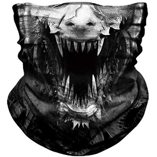 Seamless Neck Gaiter Shield Scarf Bandana Face Mask Seamless UV Protection for Motorcycle Cycling Riding Running Headbands (Tooth skull)