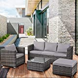 Leisure Zone Garden Rattan Furniture Set 6 pieces Outdoor Patio 5 Seater Sofa Set All weather PE Wicker Rattan Steel Frame (Grey)