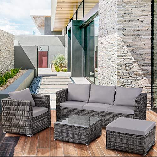 Leisure Zone Garden Rattan Furniture Set 6 pieces Outdoor Patio 5 Seater Sofa Set All weather PE Wicker Rattan Steel Frame (Grey)