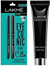 Lakme Eyeconic Kajal Twin Pack, Black, 0.35g with 0.35g & Lakme Absolute Blur Perfect Makeup Primer, 30g