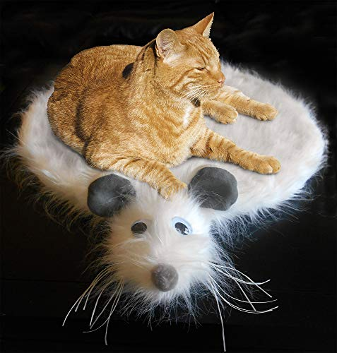 Kitty's Mouse Skin Rug (Cat Bed White, Naturally attracts and Calms Cats | Cute Unique Space-Saving Design for Sofa, Bed or Floor | Luxurious Long Fur mimics Natural