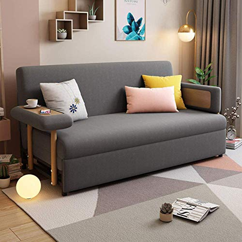 2-In-1 Folding Sofa Bed, Double Sofa Convert To Bed Fabric Padded Sofabed 3 Inclining Positions Convertible Sofa Settee with Armrests,Sofa Furniture Living Room Room Decoration,Dark gray,1.96M