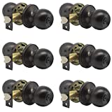 Probrico Ball Privacy Door Knobs Bed and Bath Keyless Handles Locksets, Oil Rubbed Bronze Finish, 6 Pack