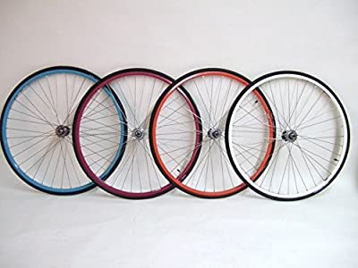 XRP Vuelta 700c Colored Track Fixed Gear Fixie Single Speed Bike Wheel Set with 700 x 23c Kenda Tires and Tubes Package (Fuchsia)