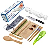 Sushi Making Kit - All In One Sushi Bazooka Maker with Bamboo Mats, Bamboo Chopsticks, Avocado Slicer, Paddle, Spreader, Sushi Knife, Chopsticks Holder and Cotton Bag - Gift Box