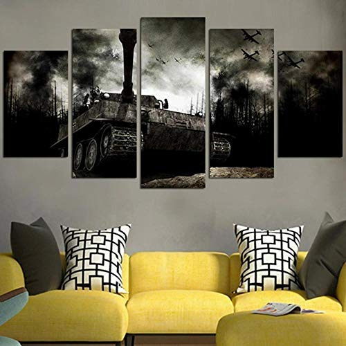 5 Piece Wall Art Picture,Prints On Canvas 5 Panel Creative Gift Call Of Du Ww2 Tank Painting For Home Modern Decor Print Decor Living Room Wall Decor