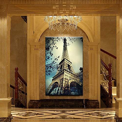 wZUN Decoración de Pared con impresión de Lienzo, Cartel de decoración de Muebles de Sala de Estar de Torre Eiffel de Gran tamaño Moderno Vista cercana 50x75cm
