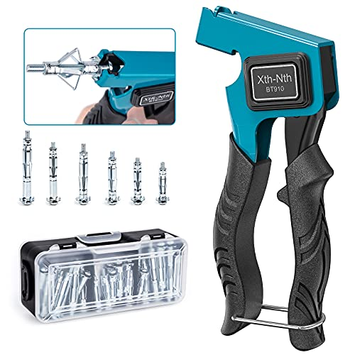 Xth-Nth Wall Anchor Setting Tool for Molly Bolts, Wall Anchor Fixing Gun Metal Setting Tool for Hollow Wall Cavity Anchor Plasterboard Fixing with 32 Pieces Molly Bolt
