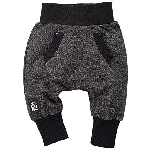 Pinokio - Happy Day - Baby Hose 100% Baumwolle-schwarz - Jogginghose, Haremshose Pumphose Schlupfhose- elastischer Bund, unisex (98)