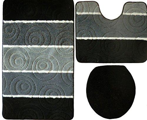 Ilkadim Orion Badgarnitur 3 TLG. Set 50x80 cm Mehrfarbig gestreift, WC Vorleger mit Ausschnitt für Stand-WC (schwarz grau)