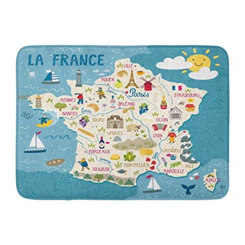 Alfombras de baño Alfombras de baño Alfombrilla exterior / interior Vino Mapa de Francia Viajes Lugares emblemáticos franceses Personas Región de alimentos y animales Europa Decoración de baño Alfombr