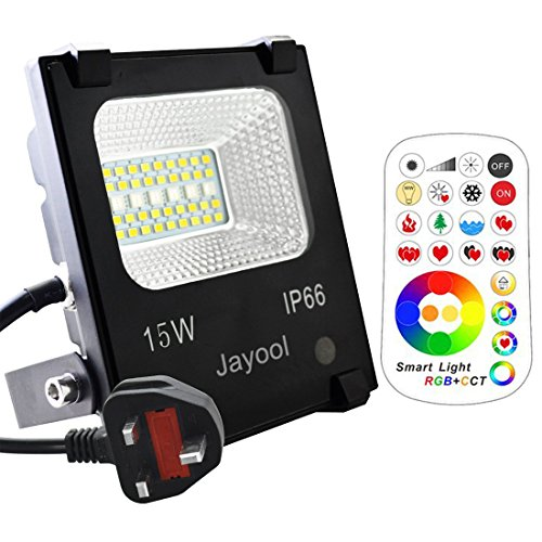 Jayool LED Floodlight Outdoor,15W Colour Changing Flood Lights with Remote, 120 RGB Colours, Warm White and Cool White Adjustable, Waterproof IP66, UK 3-Plug