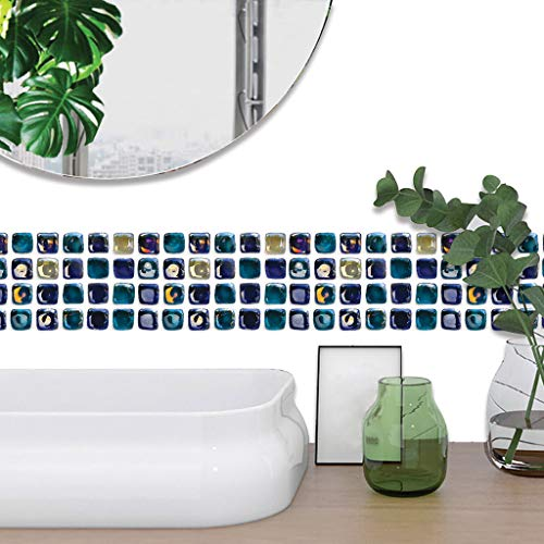 Hffan Mosaic Tile Stickers 3D Effect Large Selection Wall Stickers Kitchen Bathroom Tile Decoration Film Self-Adhesive
