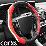 BDK UltraSport Series Steering Wheel Cover - Synthetic Leather Perforated with Carbon Fiber Design & Stitching (Racing Style Red)