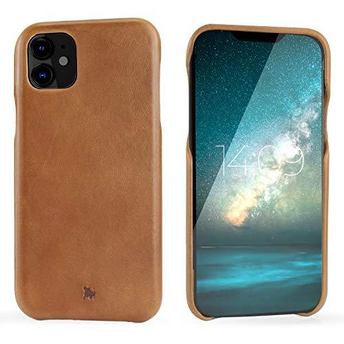 "BULLAZO Menor Classic – kompatibel mit iPhone 11 XI Schutzhülle Handy Hülle aus hochwertigem Leder hell braun 6,1"""