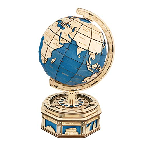 Leic 3D Wooden Globe Model 567Pcs 3D Mechanical Puzzle Assemble Educational Puzzle Kit Laser Cutting Creative Model Toy Gift for Kids Adult