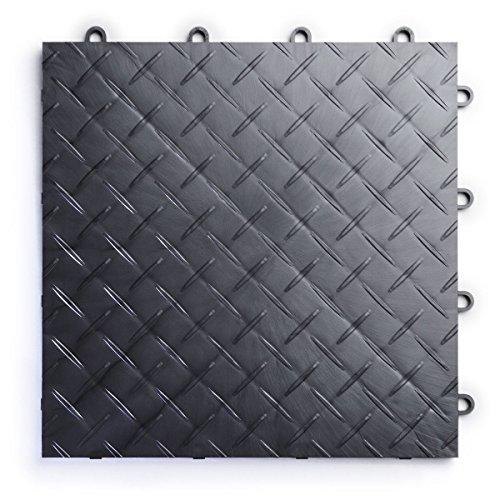 RaceDeck Diamond Plate Design, Durable Interlocking Modular Garage Flooring Tile (48 Pack), Graphite