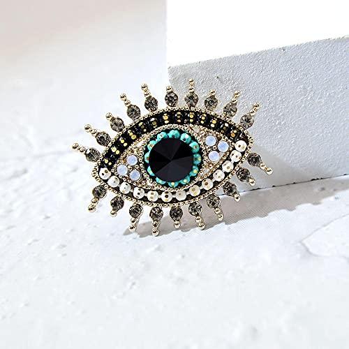 WANM Broches De Ojo De Diamantes De Imitación para Mujer, Cuentas De Ojo De La Suerte De Aleación, Broches De Fiesta para Bodas, Alfileres, Joyería para Camisa