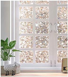 No Glue Privacy Window Film Decorative Window Film Static Cling 3D Cobblestone Vinyl Window Sticker, Static Cling Decal Cl...