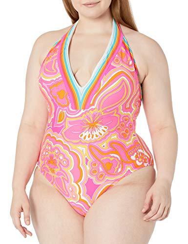 Trina Turk Women's Plus Size V-Plunge One Piece Swimsuit, Multi//The Anniversary-Morning Sunrise, 22W