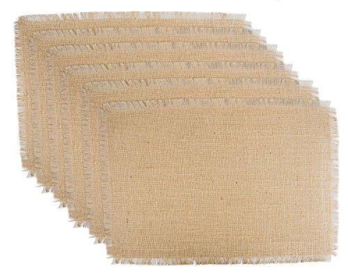 DII 100% Jute Rustic Vintage Placemat for Parties BBQ's Everyday & Holidays Use (Set of 6), Solid Natural