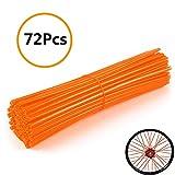 Universal Bicycle Bike Spoke Covers - 72Pcs Motorcycle Wheelchair Wheel Spoke Wraps, Dirt Bike Spoke Skin, Pipe Trim for 8'-21' Spoke Rims Spoke Covers Decoration Protector (Orange)