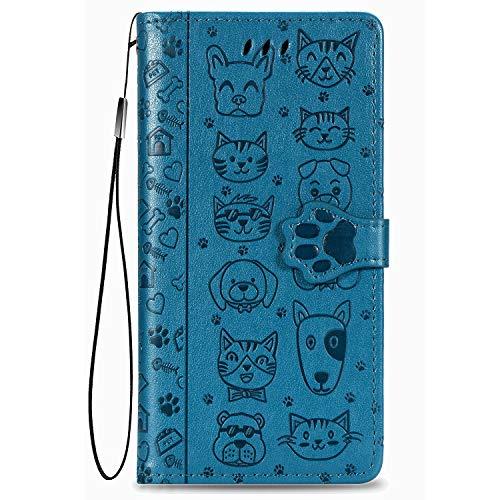 Fertuo Hülle für Redmi 9A, Handyhülle Leder Flip Hülle Tasche mit Kartenfach, Magnet & Standfunktion [Katze H& Muster] Schutzhülle Wallet Cover für Xiaomi Redmi 9A, Blau
