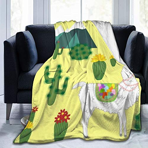 QIUTIANXIU Mantas para Sofás de Franela 150x200cm Linda Alpaca Llama Perú Animales Granja Artesanía Decoración Sur Cactus Fauna Desierto Lana Zoológico Manta para Cama Extra Suave
