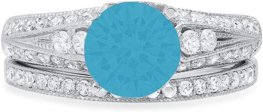 2.04ct Round Cut Pave Solitaire with Accent Ideal Flawless Simulated CZ Turquoise Engagement Promise Designer Anniversary Wedding Bridal ring band set 14k White Gold