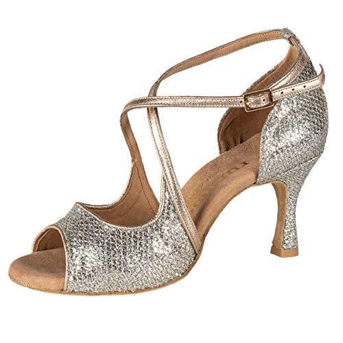 Rummos Mujeres Zapatos de Baile R545 GT8-147 - Material: Cuero/GlitterLux - Color: Platino - Anchura: Normal - Tacón: 60R Flare - Talla: EUR 40
