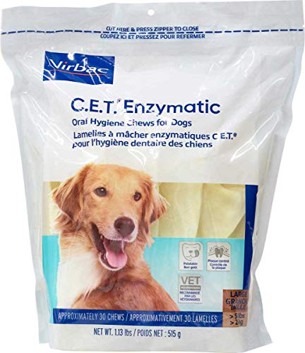 virbac dental chews for dogs C.E.T. Enzymatic Oral Hygiene Chews for Large Dogs (51+ Pounds) - 90 (chews) by Virbac