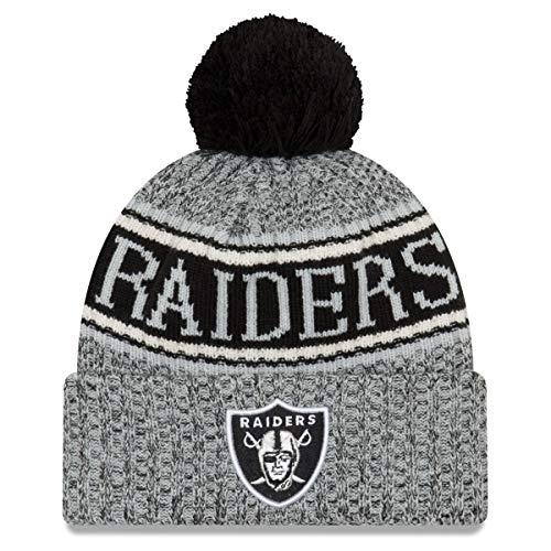New Era Oakland Raiders Beanie - NFL 2018 Sideline Sport Reverse Knit - Grey/Black - One-Size