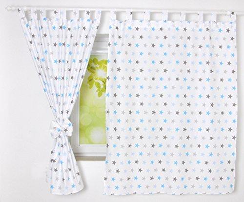 BABYLUX Kinderzimmer VORHANGE mit Schlaufen Kinder und Baby Gardinen 2x 120x160 cm (94. Sterne Blau)