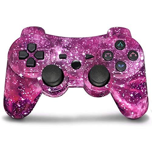 Mando PS3 Inalámbrico Gamepad Bluetooth PS3 Controller Joystick con Doble Vibración SIX-AXIS para PlayStation 3 / PC (Galaxy Púrpura)