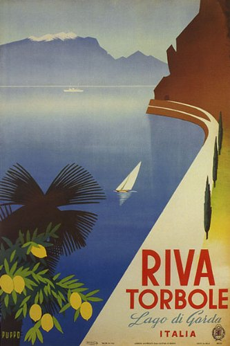 "WONDERFULITEMS Riva TORBOLE Lake DI Garda Travel Italy Italia Italian 12"" X 16"" Image Size Vintage Poster REPRO"