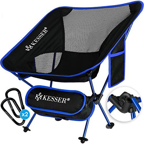 KESSER® Campingstuhl faltbar klappbar tragbar Angel Stuhl Camping Stuhl Faltstuhl bis 120 kg Strandstuhl Angelstuhl Klapphocker mit Getränkehalter kleinem Packmaß, Outdoor Stuhl, Blau