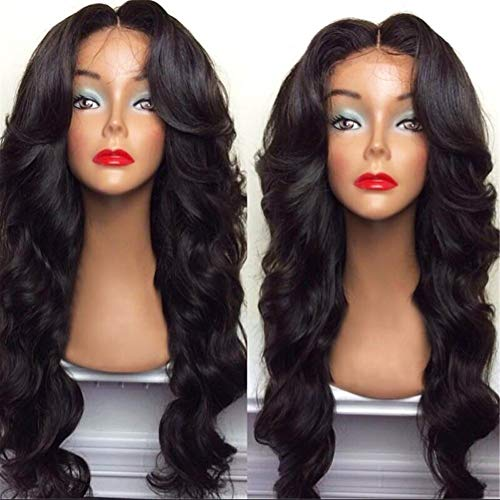 MANO Wigs 28' Women Girls Long Curly Hair Heat Resistant Fiber With Free Wig Cap Halloween Cosplay Costume Party Anime Wigs (Black)