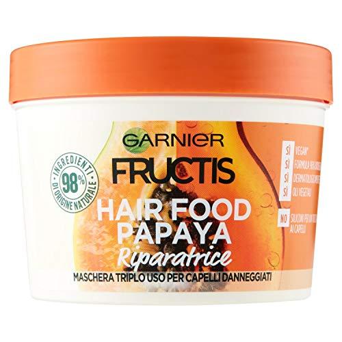 Garnier Fructis Hair Food Papaya, 3-in-1-Reparaturmaske mit veganer Formel für geschädigtes Haar, 390 ml