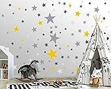 100 Sterne Wandtattoo fürs Kinderzimmer - Wandsticker Set - Pastell Farben, Baby Sternenhimmel zum Kleben Wandaufkleber Sticker Wanddeko - Wandfolie, Kleinkinder, Erstausstattung, Grau - Schwarz -Gelb