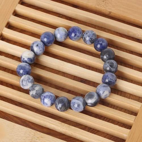 JIANGLAI Pulsera de abalorios de 6 mm/8 mm/10 mm con cuentas de piedra natural púrpura amatista cuentas pulsera para hombres mujeres joyas regalos