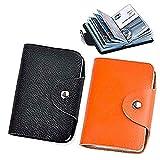 Mini Credit Card Holder for Women 2Pack Credit Card Holder Protector Bag (Black&Orange)