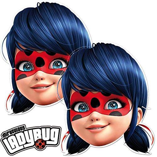 6 Masken * Ladybug * als Verkleidung und Mitgebsel für Mottoparty und Superheldinnen-Mottoparty // Miraculous Lady Bug