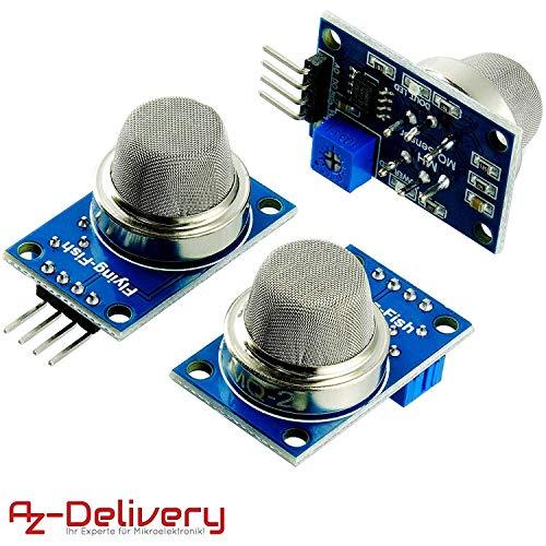 AZDelivery 3 x MQ-2 Gas Sensor Rauch Sensor Luftqualität Modul für Arduino