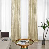 2×8FT-2PCS Champagne Gold Sequin Backdrop Curtains Panels, Photography Backdrop Glitter Curtains Fabric Background for Christmas Wedding Party Decor