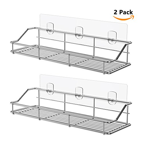 ODesign Adhesive Bathroom Shelf Organizer Kitchen Rack Wall Mounted No Drilling SUS304 Stainless Steel - 2 Pack