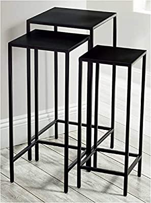 Marque Amazon -Movian Trio Nest of 3 Tables Square Tube:12 * 12 * 1.0mm; Iron Sheet:T2.0mm;
