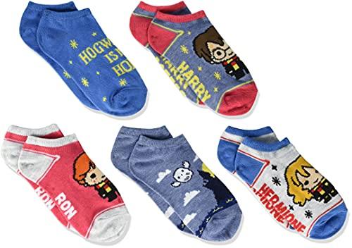 Harry Potter Calcetines unisex de Harry Potter para niños, paquete de 5, Azul Surtido, 9-11