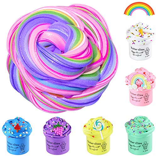 X-Kim Upgrade 6 Pack Slime Kit with Rainbow, Ice Cream, Watermelon, Grapes, Pineapple, Lollipop Candy Charms Slime, Super Soft and Non-Sticky DIY Butter Slime Toys Glossy Scented Slime for Kids