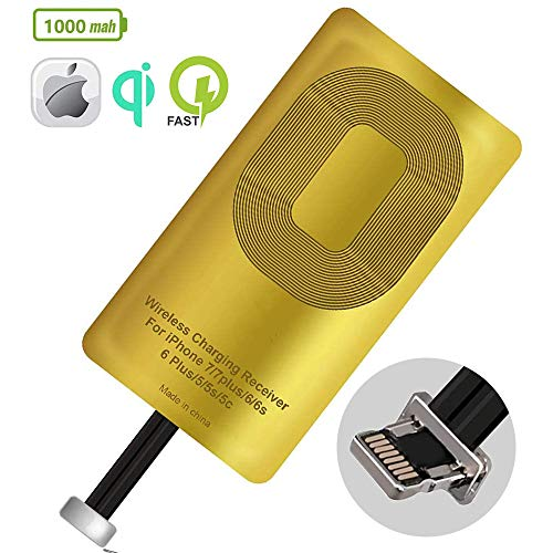 QI Receiver for iPhone 5-5c- Se- 6-6 Plus- 7-7 Plus- iPhone Ultra-Slim 5w 1000mAh Wireless Charging Receiver Adapter Compatible All Wireless Chargers